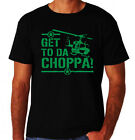 Get To Da Choppa Chopper Funny Arnold Classic 80's Action Movie New Mens T-Shirt