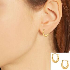 de97fdbb32110 Details about 10K Yellow Gold Tubular Baby Shrimp Hoop Earring 15mm Small  Hoops