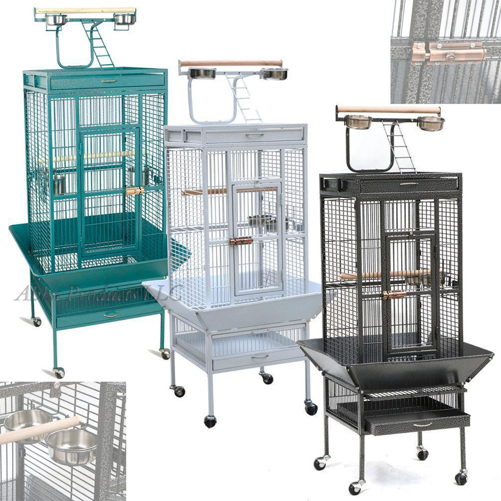 Large 62  Bird Cage Play Top Parrot Perch Stand Feeder Bowl Pet House Lock Wheel