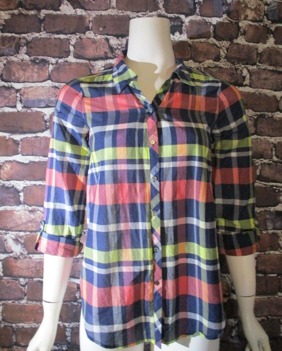 Joie Katrine Plaid Silk-Blend Blouse damen Größe XS  Dark Navy MultiFarbe