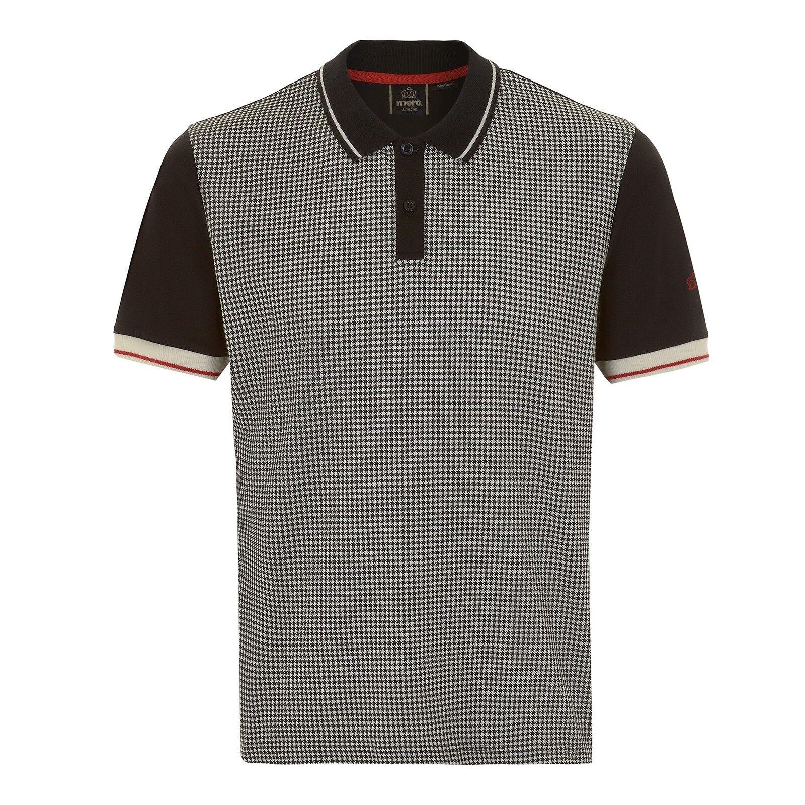 Herren Merc London Mod Retro Klassisch Klassisch Klassisch Hundezahn Kariertes Polo Hemd CGoldna -   Qualitätsprodukte  2ab24b
