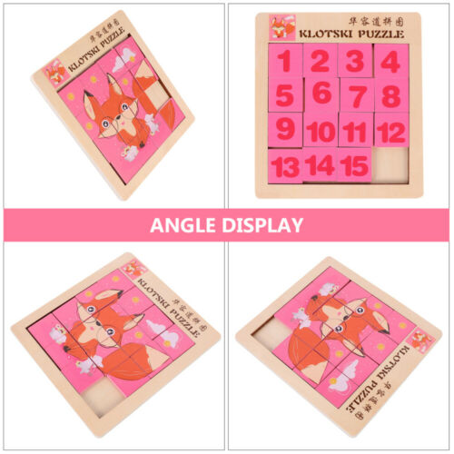 1PC Klotski Puzzle Wooden Double-sided Puzzle Animals Numbers Puzzle for Kid