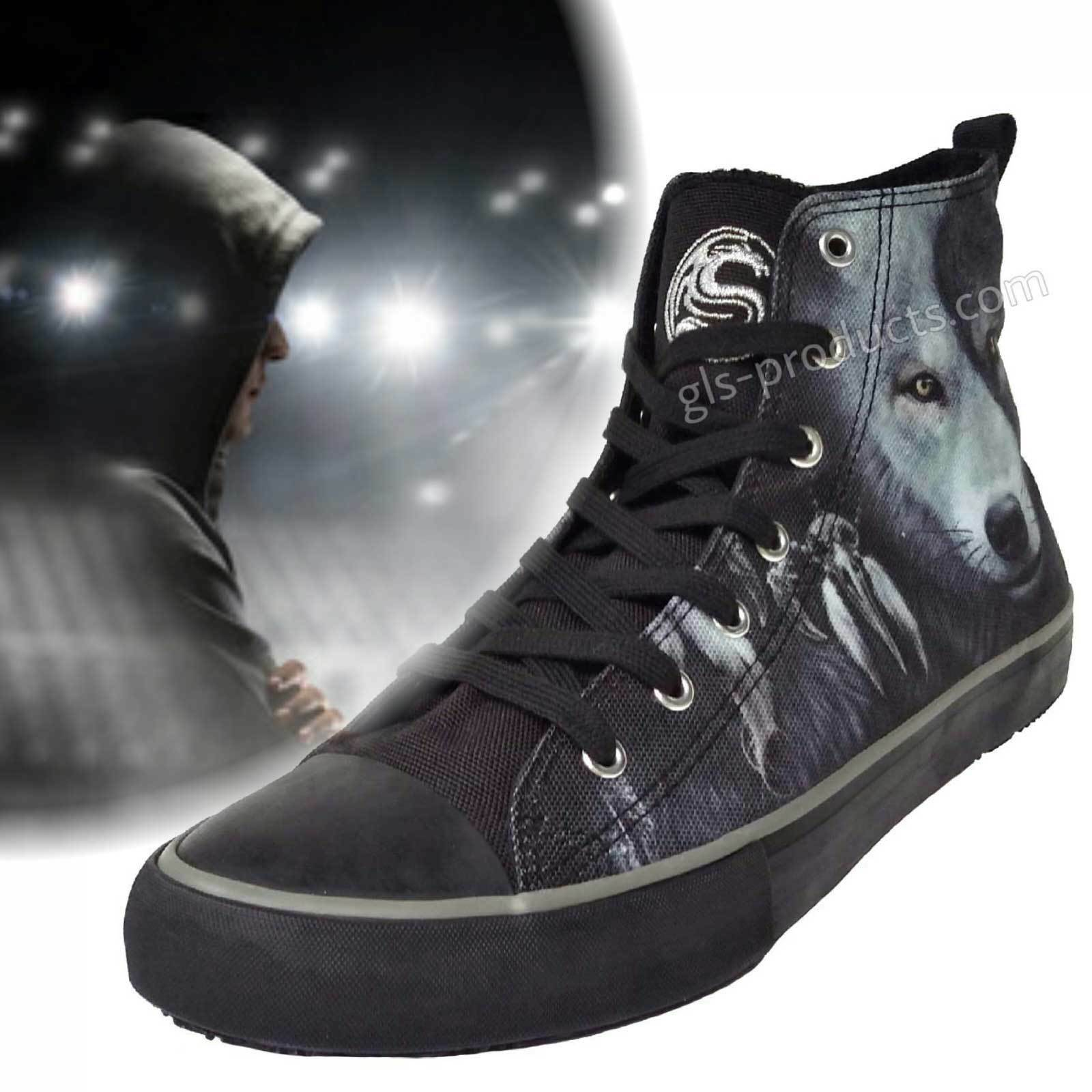 Wolf Chi High-Top Trainers - Canvas, 7 Holes - Sneakers Basketball Skater Gothic Scarpe classiche da uomo