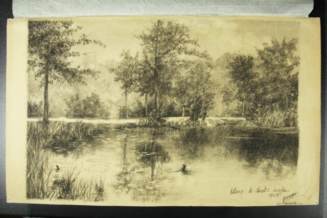 Yvonne Of Nugent Drawing Original Idem Auguste Extended 1905 Pond D Saint-Cucufa