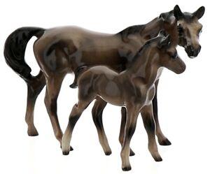Hagen-Renaker Miniature Ceramic Horse Figurine American Thoroughbred Mare & Colt