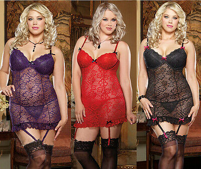 Women Sexy Lingerie Lace Dress Underwear Babydoll Sleepwear G-string Plus Size