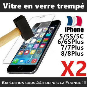 LOT-2-Vitre-Film-protection-verre-trempe-tactile-ecran-pr-iPhone-Lingette