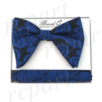 New Men/'s Pre-tied Bow tie /& hankie set navy bronze plaids /& checkers formal