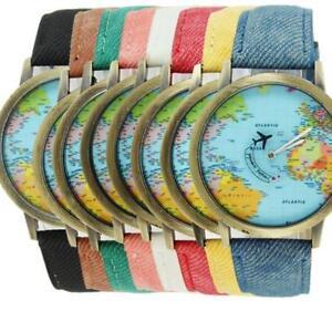 World map atlas wristwatch watch womens mens denim look strap image is loading world map atlas wristwatch watch womens mens denim gumiabroncs Images