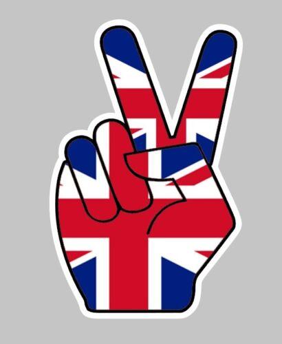 Union Jack x2 Peace Fingers car decal Sticker Badge Fairing Helmet Tank