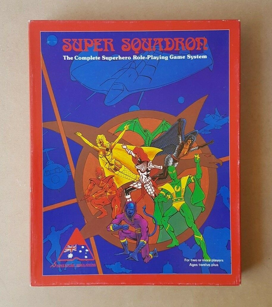 1984 súper Escuadrón RPG Box Set Completo súperhéroe Hecho En Australia Autografiado