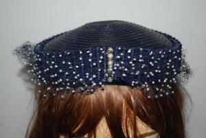 Vintage-Navy-Blue-1950s-Hat-Pearls-Netting-Dotted-Veil-Womens