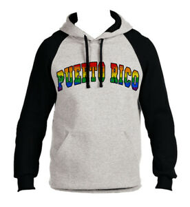 Mens Grunge Puerto Rico Flag C9 Gray Fleece Zipper Hoodie Gray