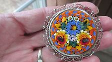 Vtg Micro Mosaic Floral Flowers Round Brooch Pin Silver Tone Filigree Bold Color