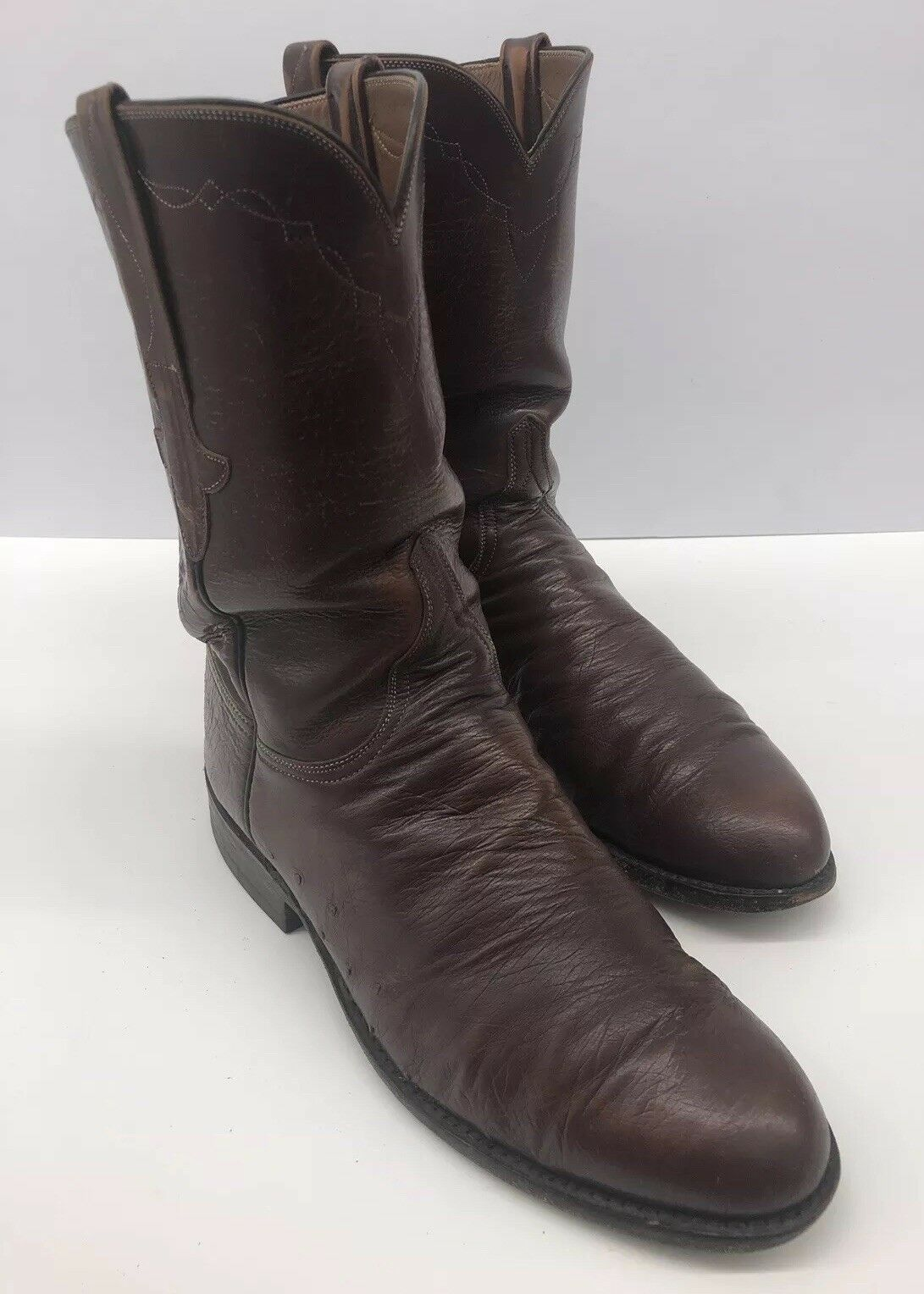 Lucchese Brown Leather Cowboy boots USA Smooth Ostrich Quill Mens Size 8.5 D