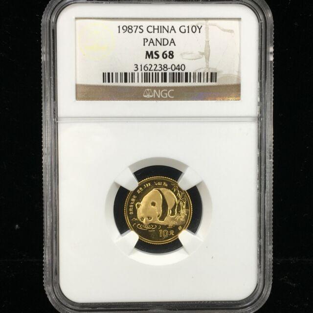 1987-S $10 YUAN 1/10 OZ CHINESE .999 GOLD PANDA NGC MS 68 (040)