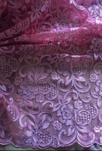 """1 MTR NEW PEACHY//PINK SCALLOPED BRIDAL EMBROIDED LACE NET FABRIC...58/"""" WIDE"""