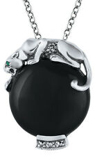 NEWARI D NORMAN 925 STERLING SILVER ONYX PANTHER DESIGN PENDANT & CHAIN WIFE MUM