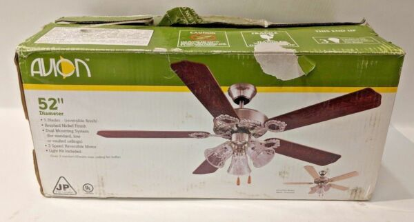 Avion 52 Nickel Finish Ceiling Fan With Three Speed Reversible