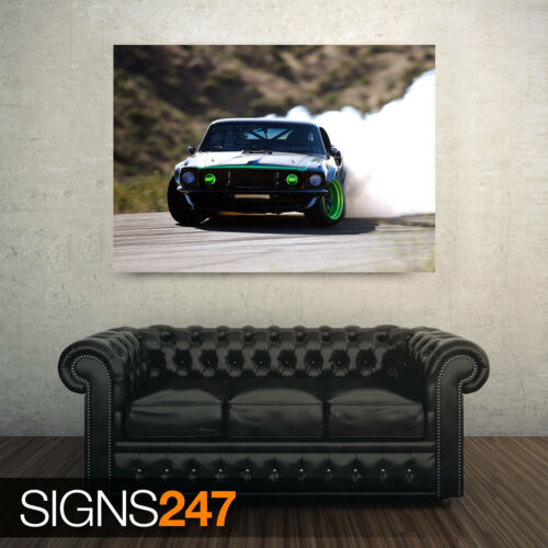 FORD MUSTANG DRIFTING CAR POSTER Photo Poster Print Art A0 A1 A2 A3 A4 AA265