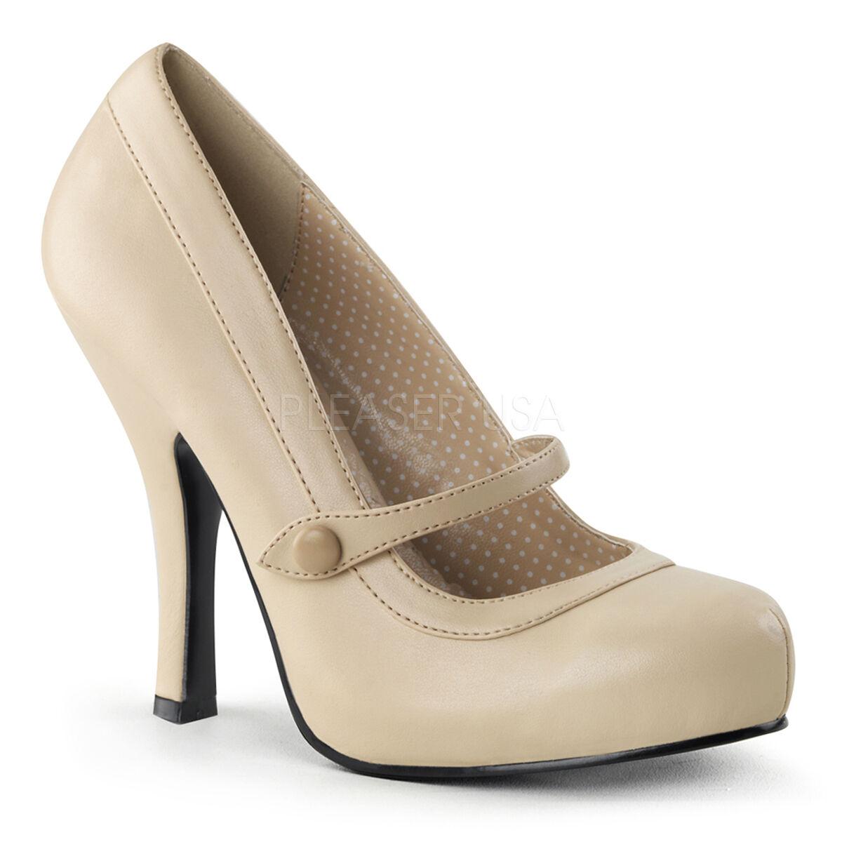 PINUP CUTIE02/CRPU Sexy Beige Tan Light Cream Mary Jane Pumps High Heels