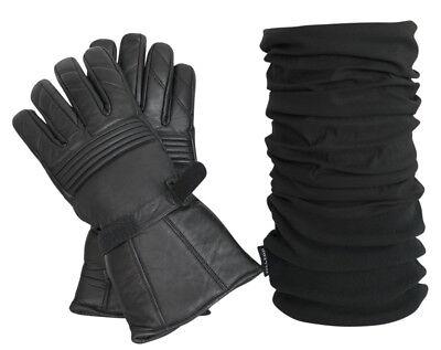 Gut Kombi Set: Thermo Lederhandschuhe Und Polar Multifunktionstuch In Schwarz StraßEnpreis