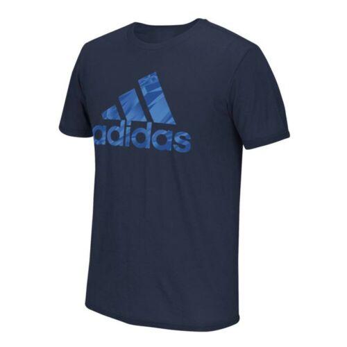 Adidas Men/'s Navy Blue Shock Energy Pattern Logo Climalite Performance T-Shirt