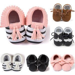 Infant Newborn Toddler Tassel Soft Sole Baby Boy Girls Leather Crib Shoes 0-18M