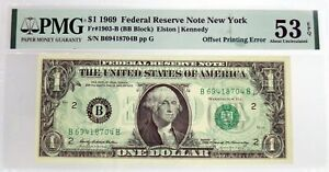 Series-Of-1969-1-FRN-New-York-Fr-1903-B-Offset-Printing-Error-Note-PMG-AU53-EPQ