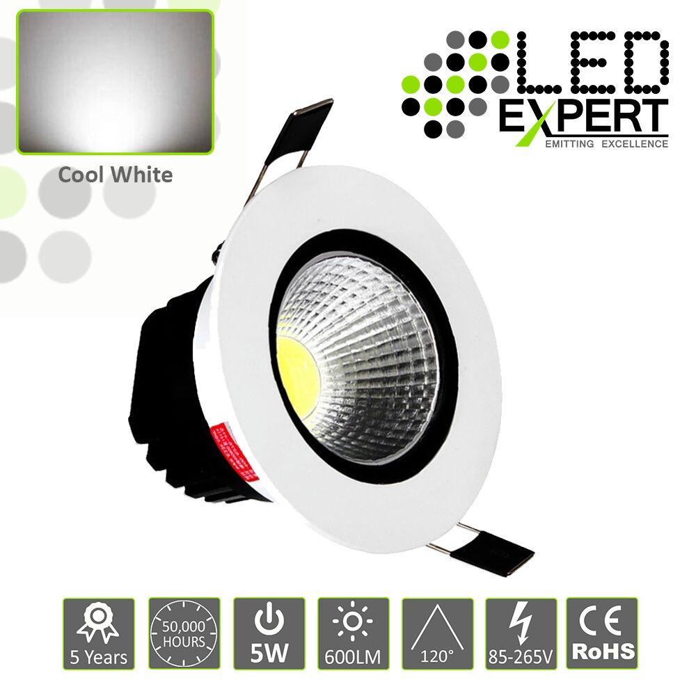 5 x 5w LED Expert Cool Weiß Tilting LED Down Lighters Weiß Bezel IP40 230v
