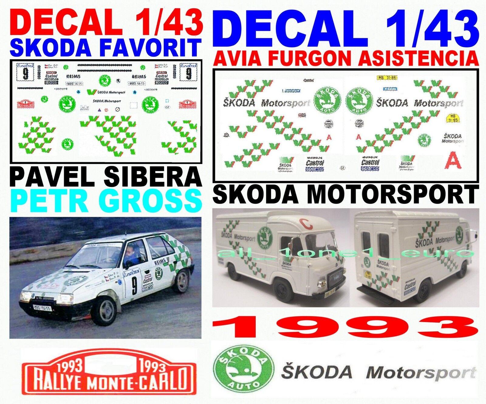 DECAL 1 43 SET SKODA MOTORSPORT 1993 (02) (02) (02) 92d711