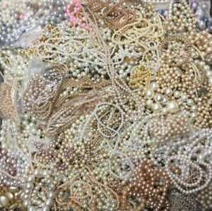PEARL-amp-FAUX-PEARL-JEWELRY-MIXED-LOT-11-POUNDS-BRACELETS-amp-NECKLACES-CRAFTS-ART
