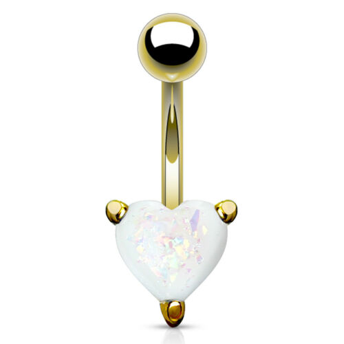 Bauchnabelpiercing Herz Heart Opal Glitzer Zirkonia Kristall Autiga®