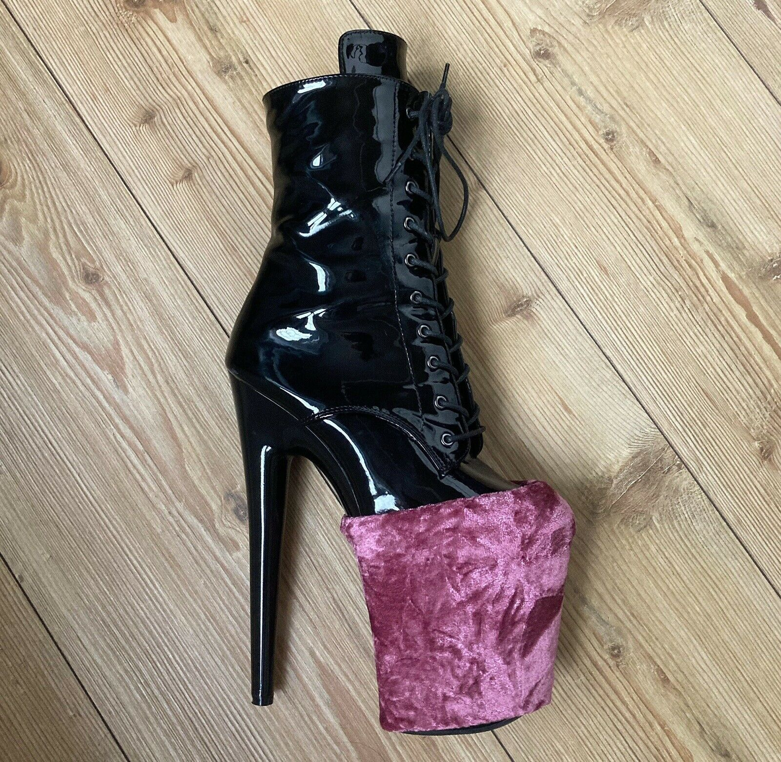 Rose Pink Crushed Velvet Exotic Pole Dancing Pleaser Heel Cover Protectors