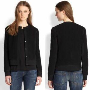 Vince Womens Black Boucle Overlay Jacket Blazer Career Wear To Work Size 8