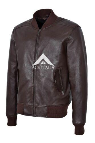 Années 70 Retro Bomber Men/'s Brown Cool Clasic Doux Italien Napa Veste en cuir 1229