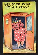 "comic postcard ""Yes, go on dear, I'm all ears!"" large woman in phone booth 1939"