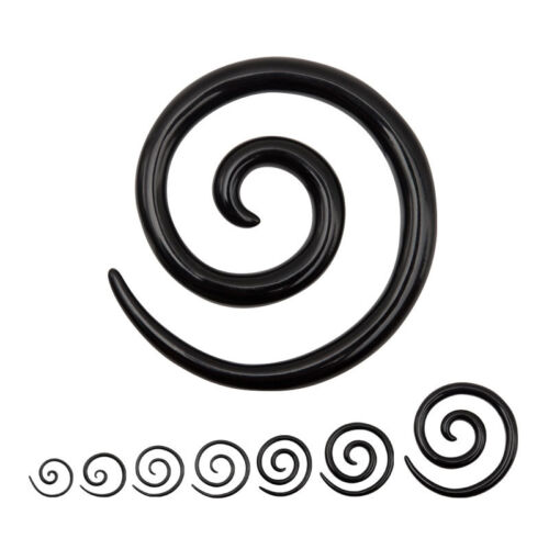 piercing écarteur expander spirale noir de 1.6 mm à 1 cm