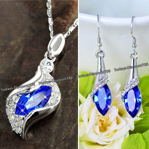 WHITE GOLD & ROYAL BLUE CRYSTAL NECKLACE LOVE XMAS GIFTS FOR HER WIFE MUM WOMEN