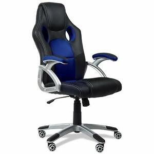 Silla-de-oficina-racing-gaming-sillon-de-despacho-color-Azul-Rojo-o-Gris