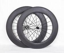 88mm Tubular Carbon Wheelset Road 3k Matt 700C Rim TT Bike Cycling Powerway Hub
