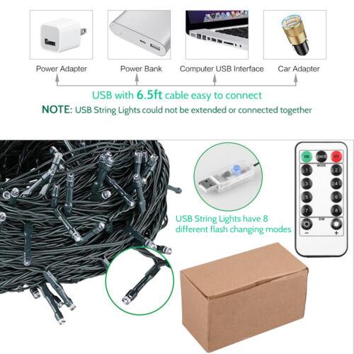 LED Lichterkette 200 Weihnachtsbeleuchtung Innen /& Außen USB Warmweiß Weihnachts