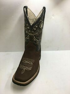 Women-Cowgirl-Rodeo-Boots-Leather-Square-Toe-Western-Brown-Color-Size-5-to-8-5