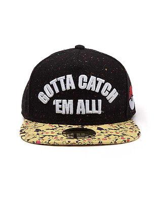 POKEMON GOTTA CATCH 'EM ALL BLACK SNAPBACK CAP WITH PRINTED VISOR (BRAND NEW)