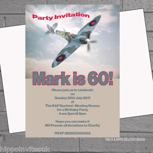 Image Is Loading Boys Mens Birthday Party Invitations Spitfire Airplane X