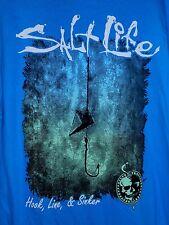 Lot 2 Mens SALT LIFE  Blue Yellow Pocket FISH FISHING Cotton SHIRTS~L~New + EUC