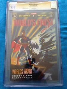 World-039-s-Finest-1990-1-DC-CGC-SS-9-8-NM-MT-Signed-by-Steve-Rude