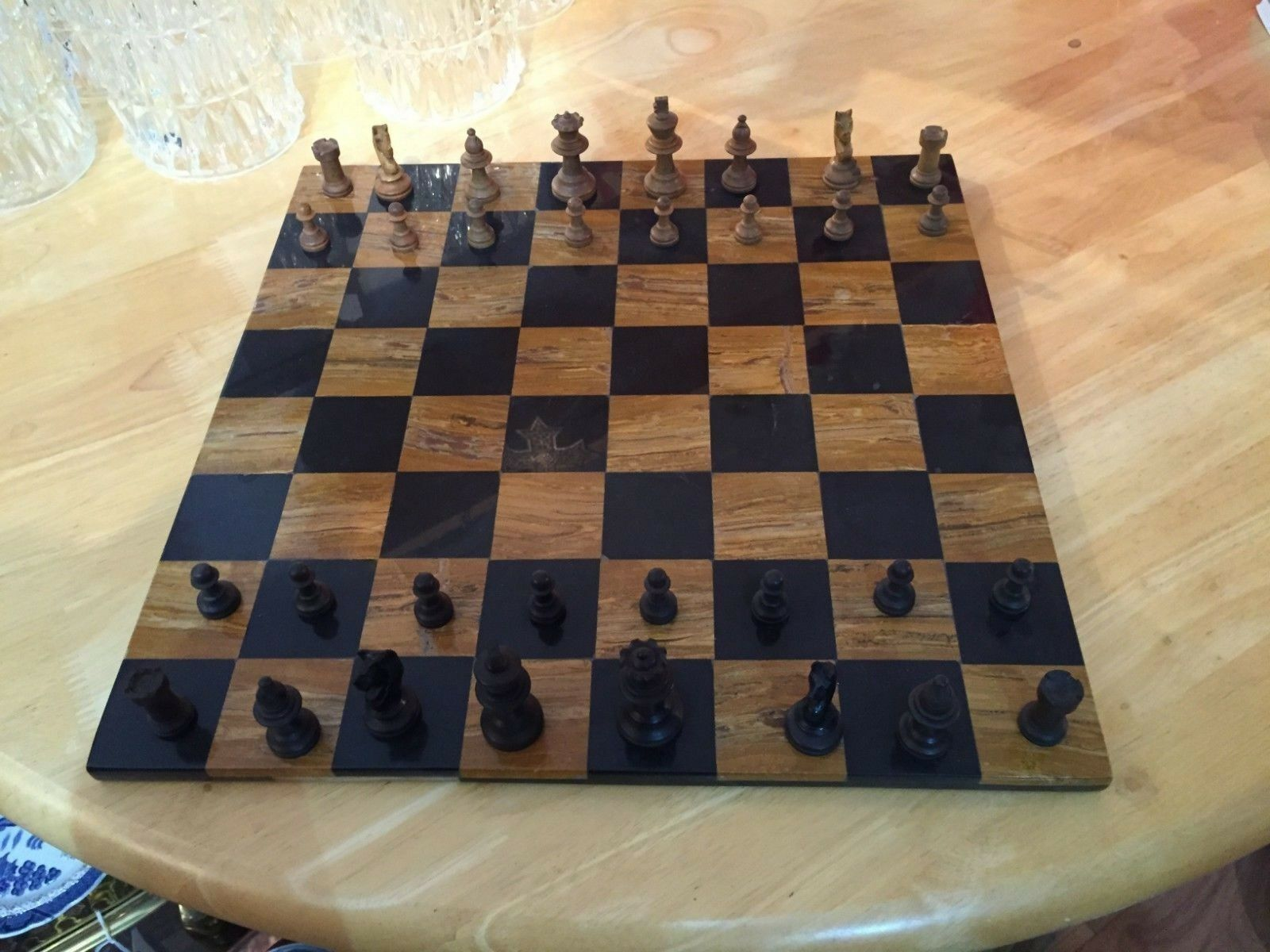 VINTAGE MARBLE CHESS BOARD WITH FULL SET WOODEN PIECES