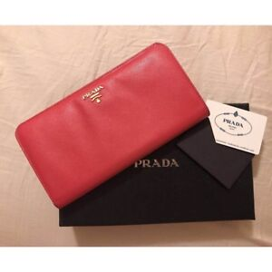 Prada Envelope Wallet In Pink Quilted Leather With Card Holder Ebay