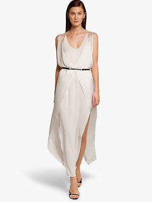 HALSTON HERITAGE Layered Slip Dress Linen White